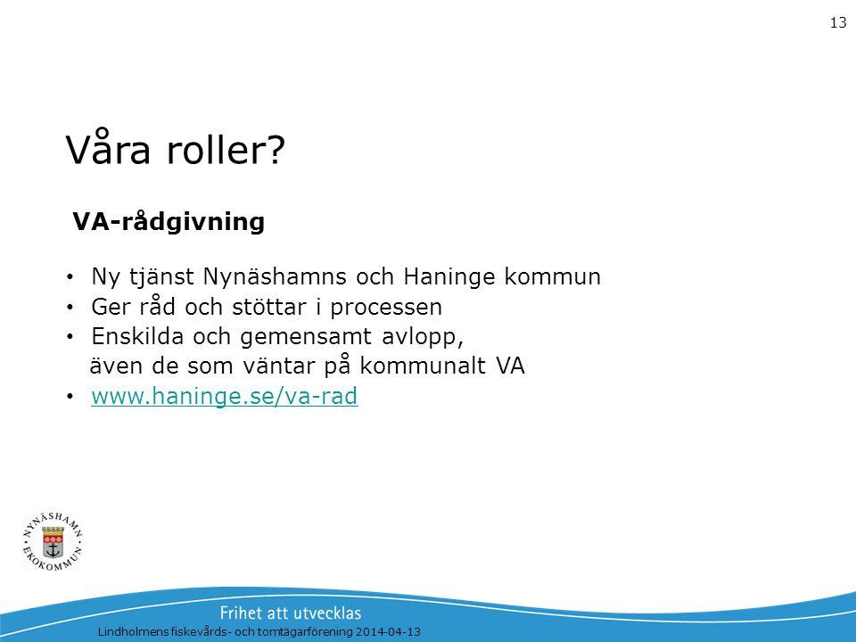 Våra roller VA-rådgivning Ny tjänst Nynäshamns och Haninge kommun