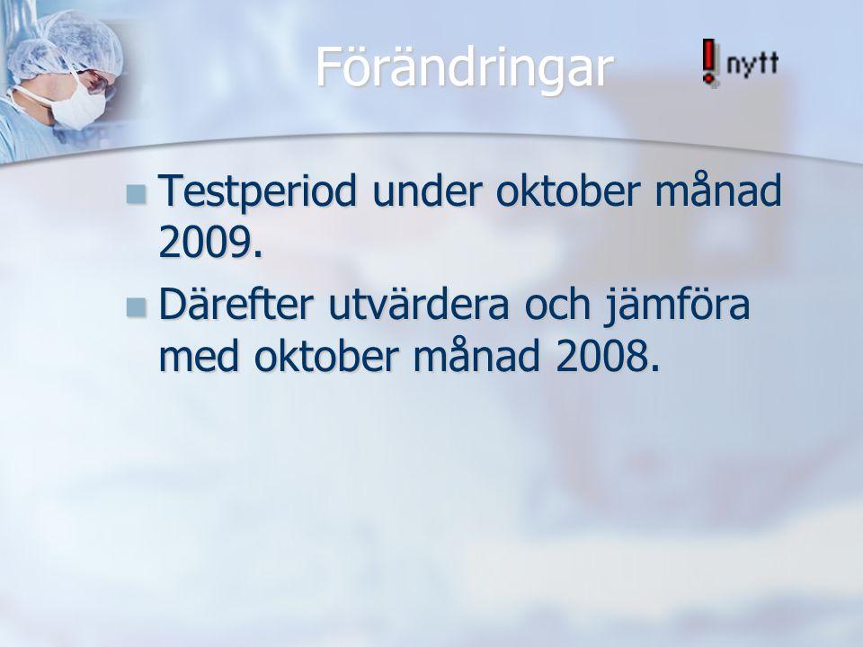Förändringar Testperiod under oktober månad 2009.