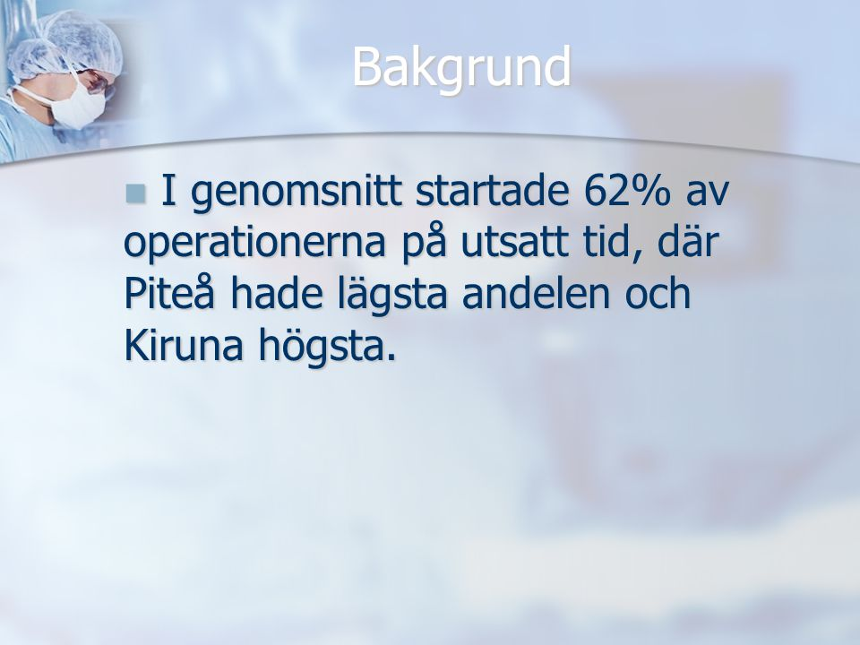 Bakgrund I genomsnitt startade 62% av operationerna på utsatt tid, där Piteå hade lägsta andelen och Kiruna högsta.