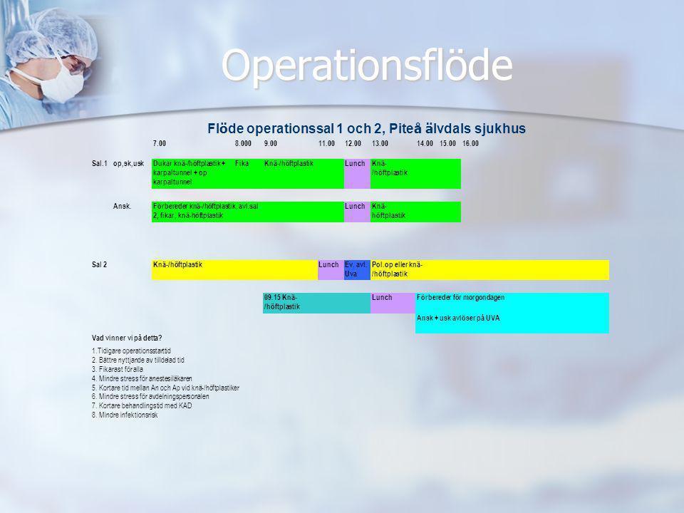 Operationsflöde Flöde operationssal 1 och 2, Piteå älvdals sjukhus
