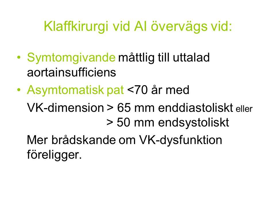 Klaffkirurgi vid AI övervägs vid: