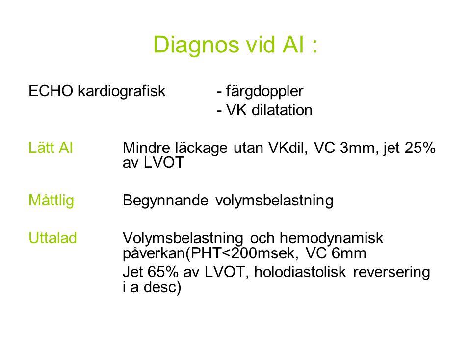 Diagnos vid AI : ECHO kardiografisk - färgdoppler - VK dilatation