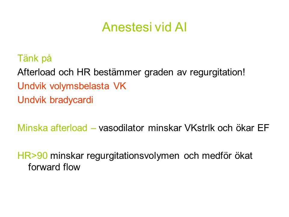 Anestesi vid AI Tänk på. Afterload och HR bestämmer graden av regurgitation! Undvik volymsbelasta VK.