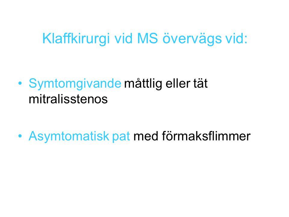 Klaffkirurgi vid MS övervägs vid: