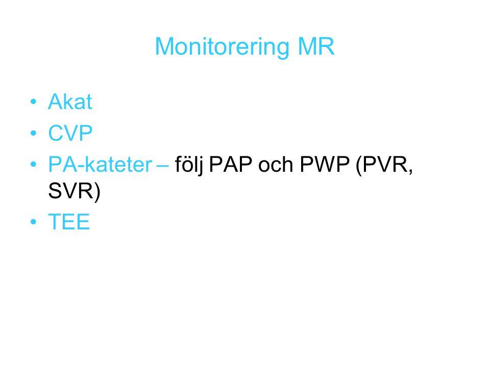 Monitorering MR Akat CVP PA-kateter – följ PAP och PWP (PVR, SVR) TEE