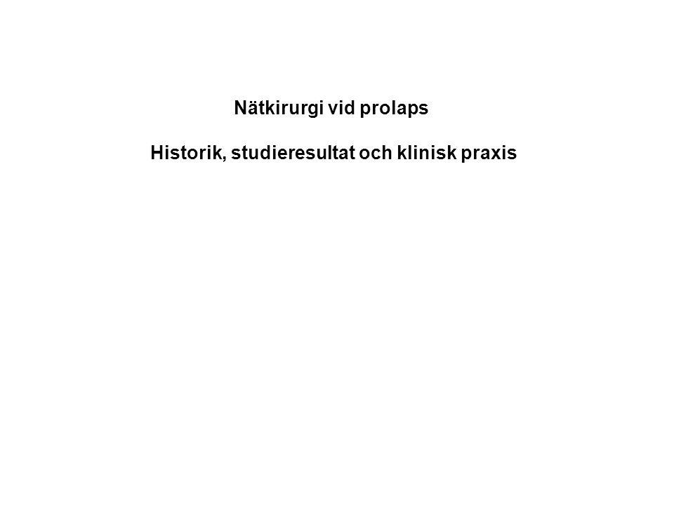 Nätkirurgi vid prolaps Historik, studieresultat och klinisk praxis