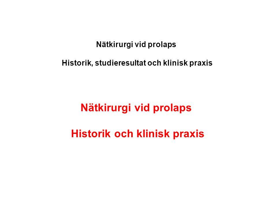 Nätkirurgi vid prolaps Historik och klinisk praxis
