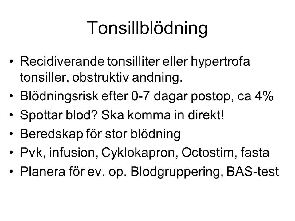 Tonsillblödning Recidiverande tonsilliter eller hypertrofa tonsiller, obstruktiv andning. Blödningsrisk efter 0-7 dagar postop, ca 4%