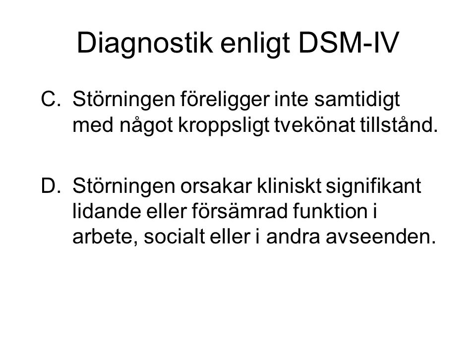 Diagnostik enligt DSM-IV
