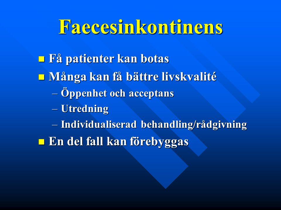 Faecesinkontinens Få patienter kan botas