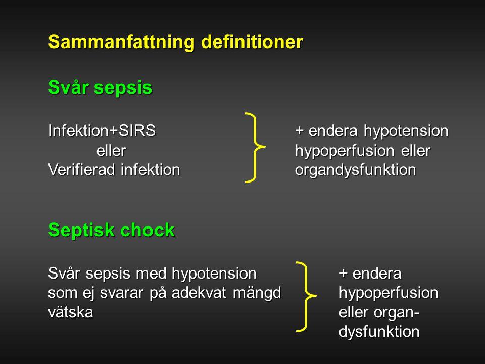 Sammanfattning definitioner Svår sepsis