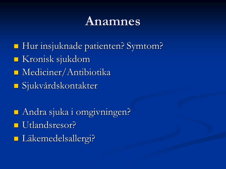 Anamnes Hur insjuknade patienten Symtom Kronisk sjukdom