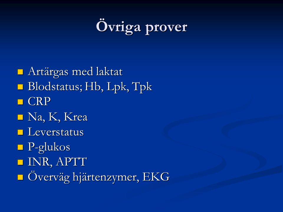 Övriga prover Artärgas med laktat Blodstatus; Hb, Lpk, Tpk CRP