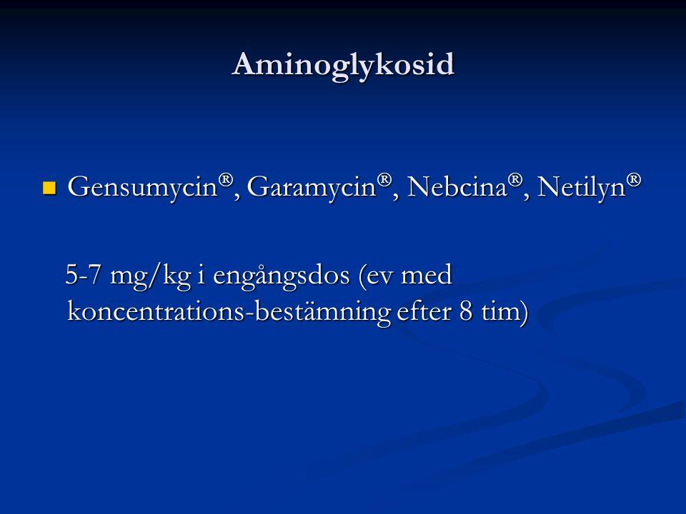 Aminoglykosid Gensumycin, Garamycin, Nebcina, Netilyn