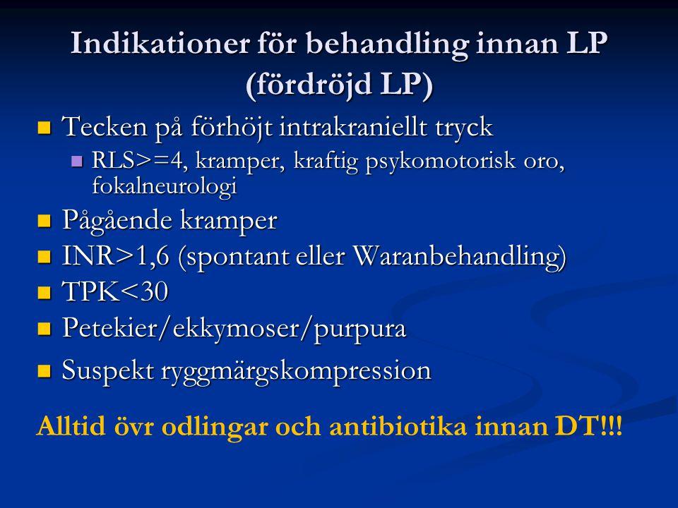 Indikationer för behandling innan LP (fördröjd LP)