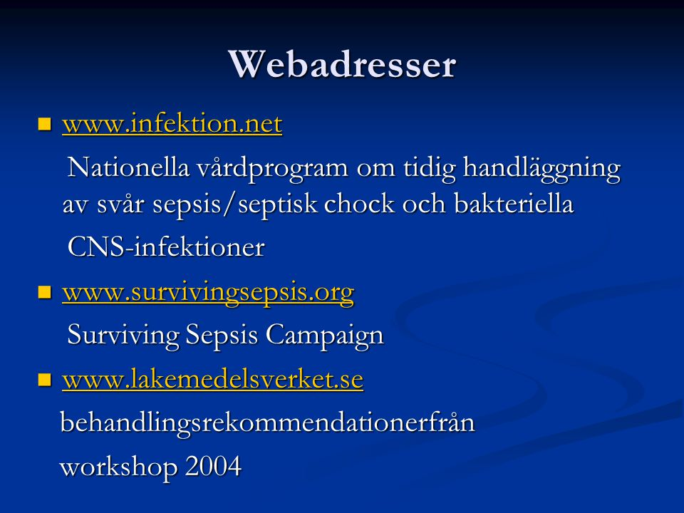 Webadresser www.infektion.net