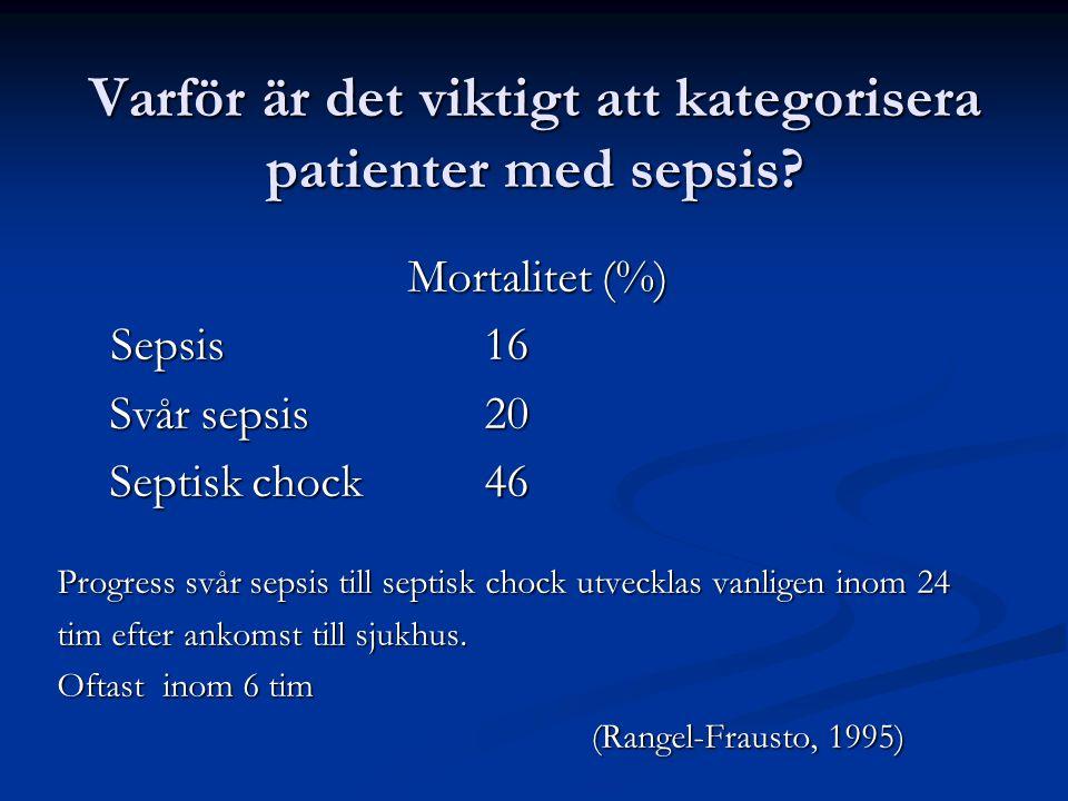 Varför är det viktigt att kategorisera patienter med sepsis