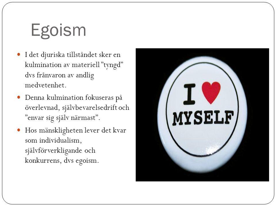 Egoism I det djuriska tillståndet sker en kulmination av materiell tyngd dvs frånvaron av andlig medvetenhet.