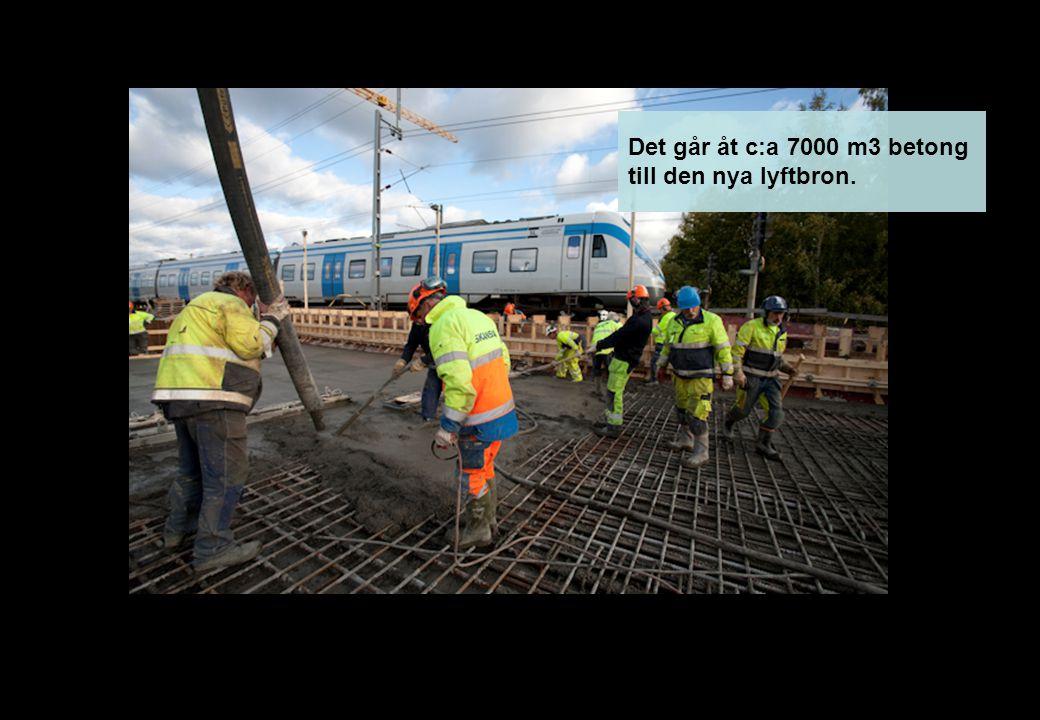Det går åt c:a 7000 m3 betong till den nya lyftbron.