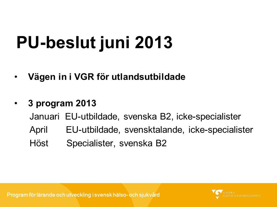 PU-beslut juni 2013 Vägen in i VGR för utlandsutbildade 3 program 2013