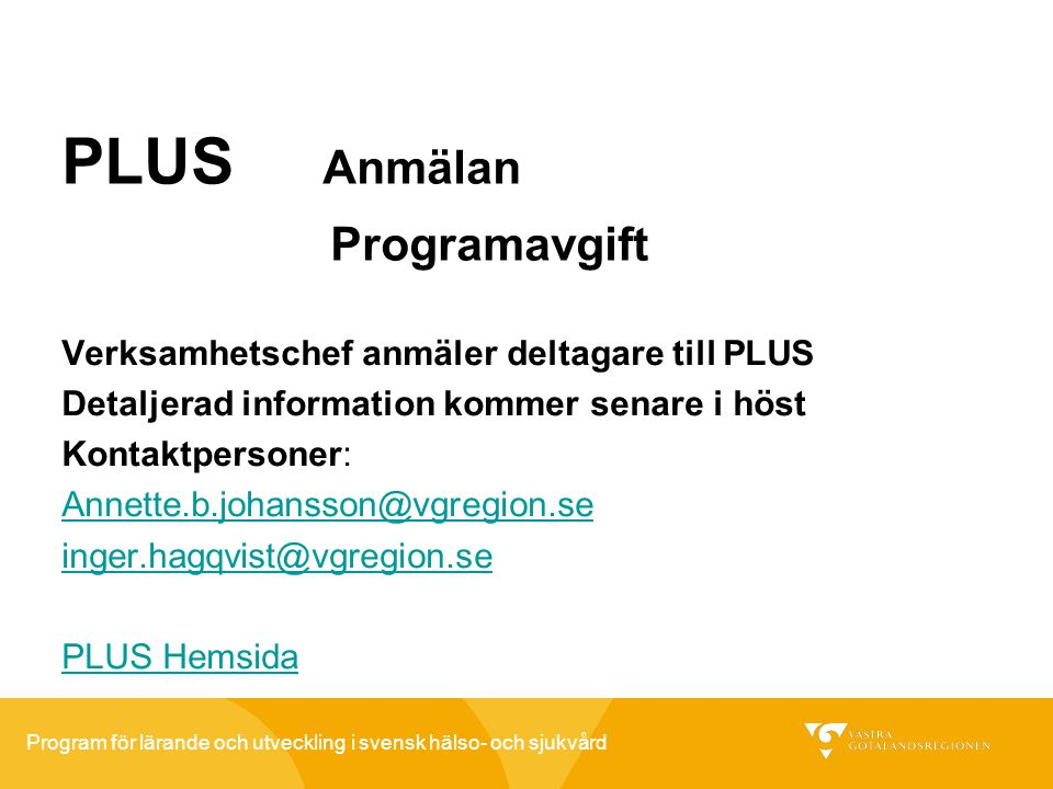 PLUS Anmälan Programavgift