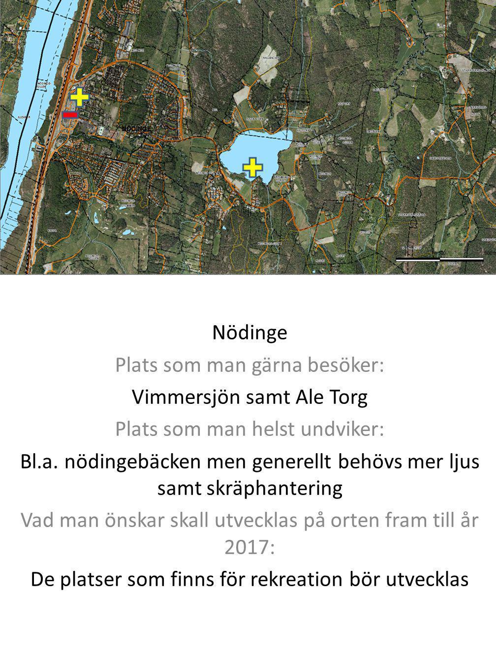 Plats som man gärna besöker: Vimmersjön samt Ale Torg
