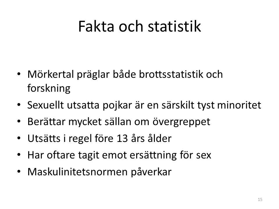 Fakta och statistik Mörkertal präglar både brottsstatistik och forskning. Sexuellt utsatta pojkar är en särskilt tyst minoritet.