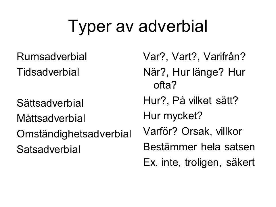 Typer av adverbial Rumsadverbial Tidsadverbial Sättsadverbial