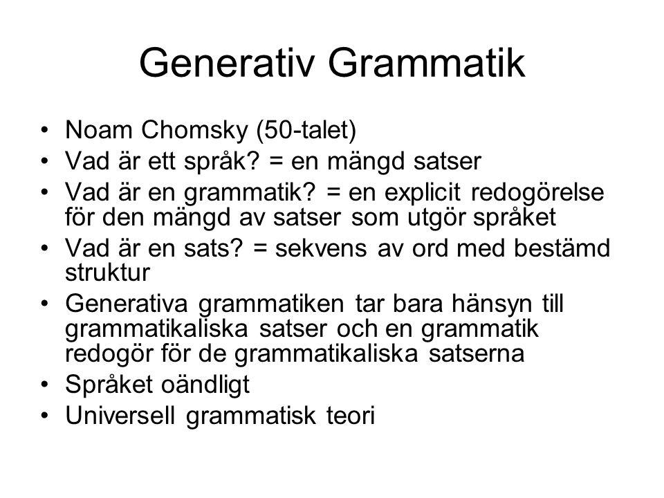 Generativ Grammatik Noam Chomsky (50-talet)