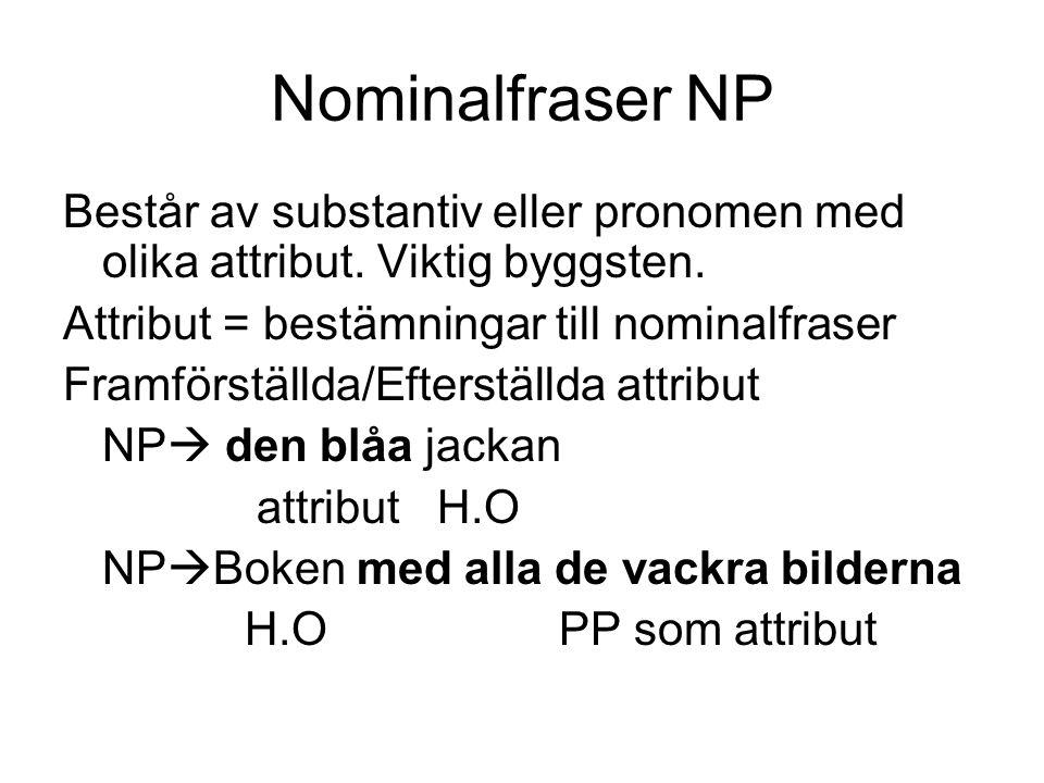 Nominalfraser NP Består av substantiv eller pronomen med olika attribut. Viktig byggsten. Attribut = bestämningar till nominalfraser.