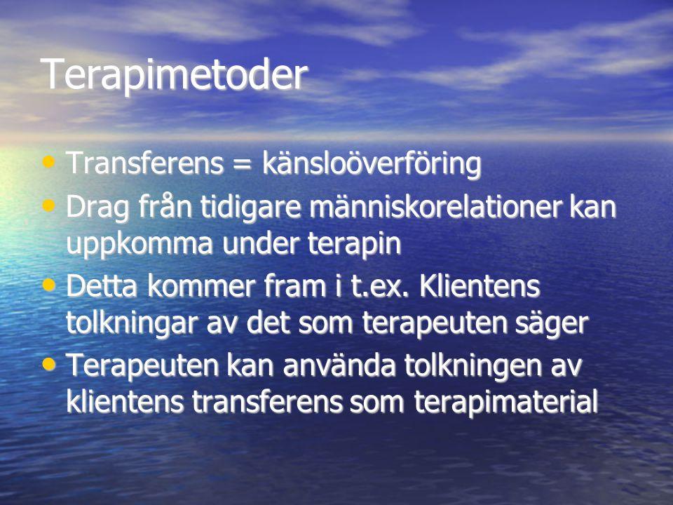 Terapimetoder Transferens = känsloöverföring