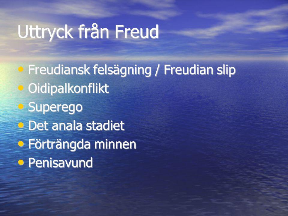 Uttryck från Freud Freudiansk felsägning / Freudian slip