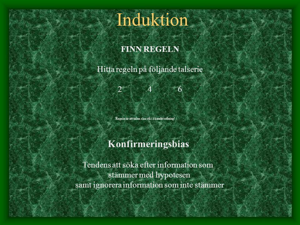 Induktion Konfirmeringsbias FINN REGELN