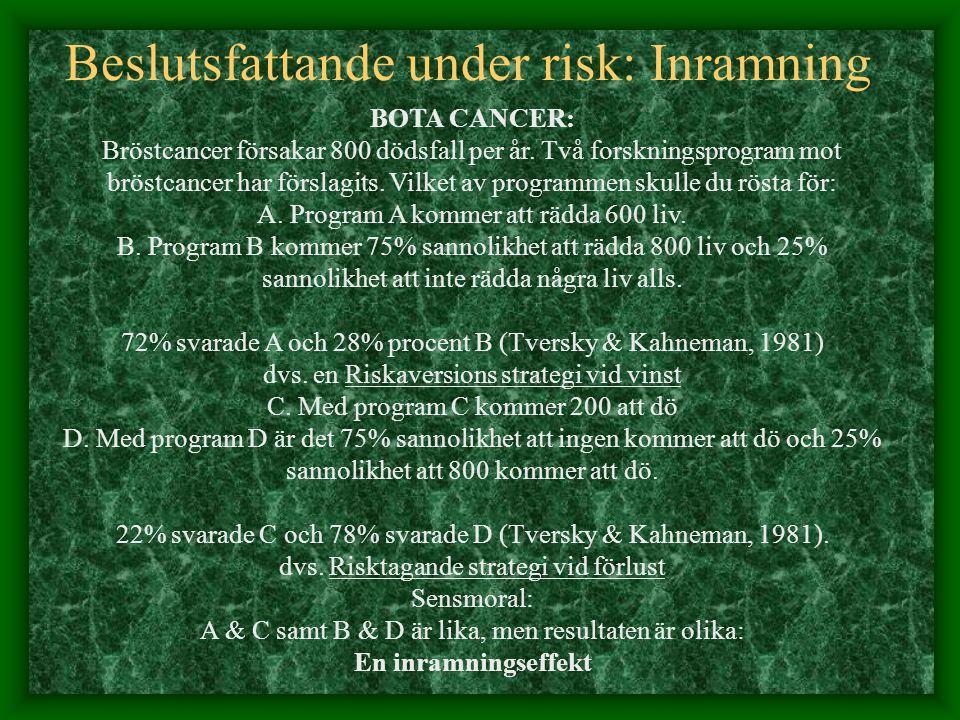 Beslutsfattande under risk: Inramning