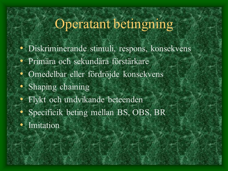 Operatant betingning Diskriminerande stimuli, respons, konsekvens