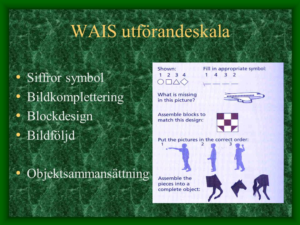 WAIS utförandeskala Siffror symbol Bildkomplettering Blockdesign