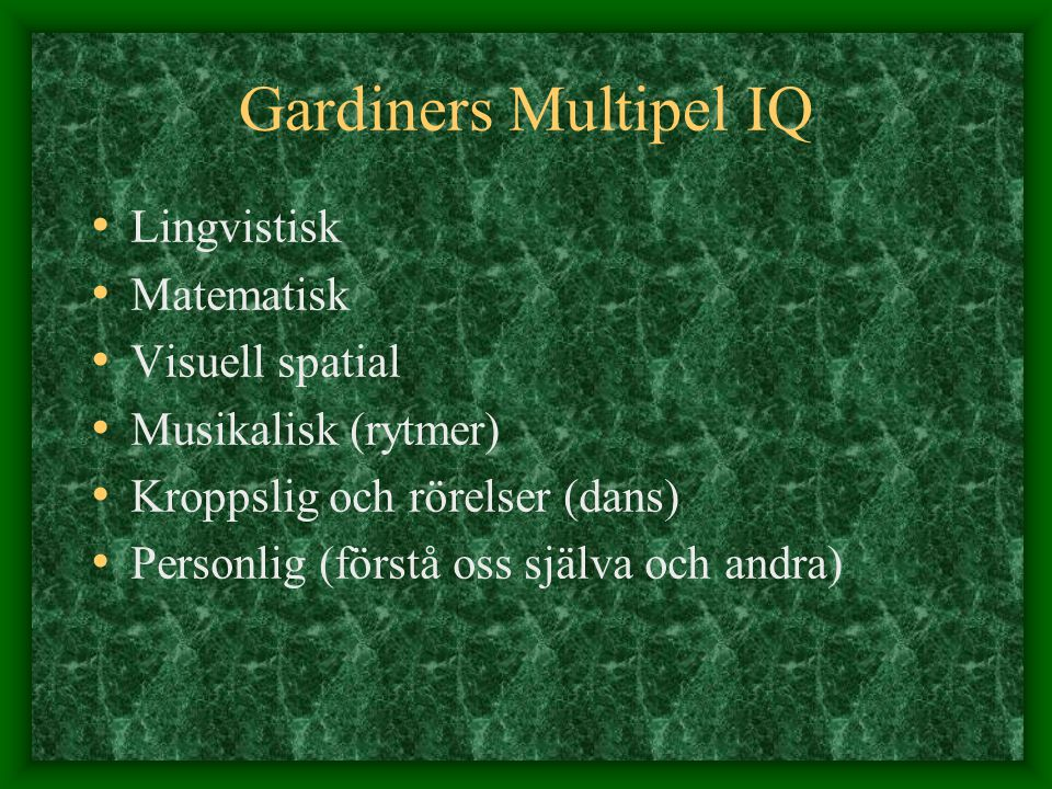 Gardiners Multipel IQ Lingvistisk Matematisk Visuell spatial