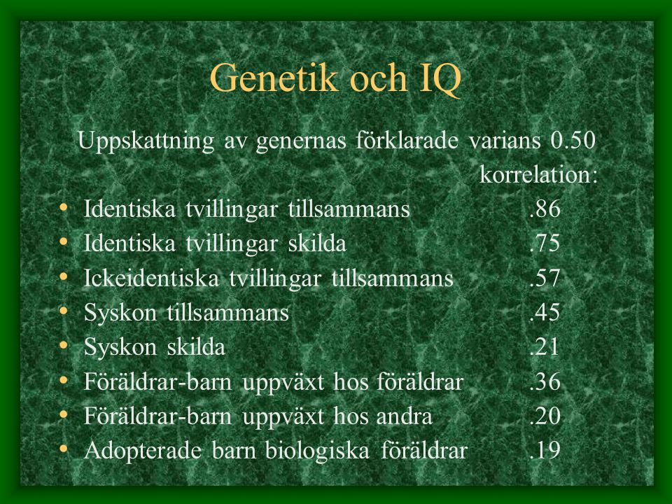 Uppskattning av genernas förklarade varians 0.50