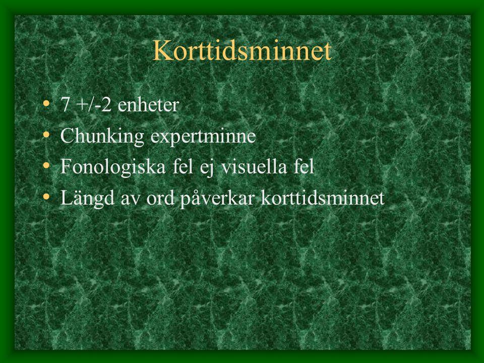 Korttidsminnet 7 +/-2 enheter Chunking expertminne