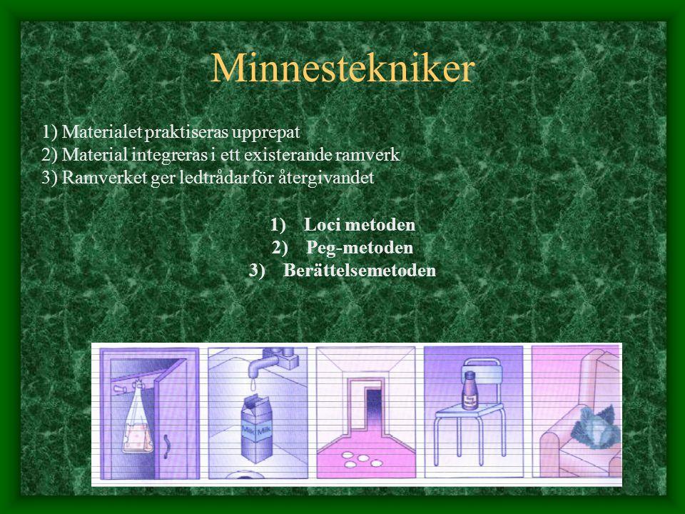 Minnestekniker 1) Materialet praktiseras upprepat