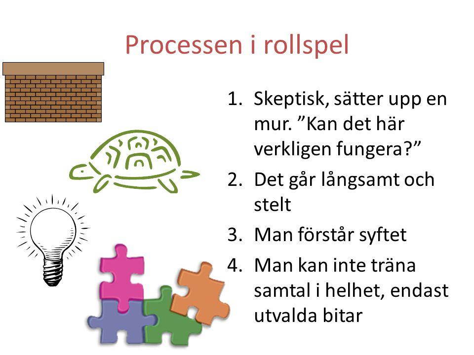 Processen i rollspel Skeptisk, sätter upp en mur. Kan det här verkligen fungera Det går långsamt och stelt.