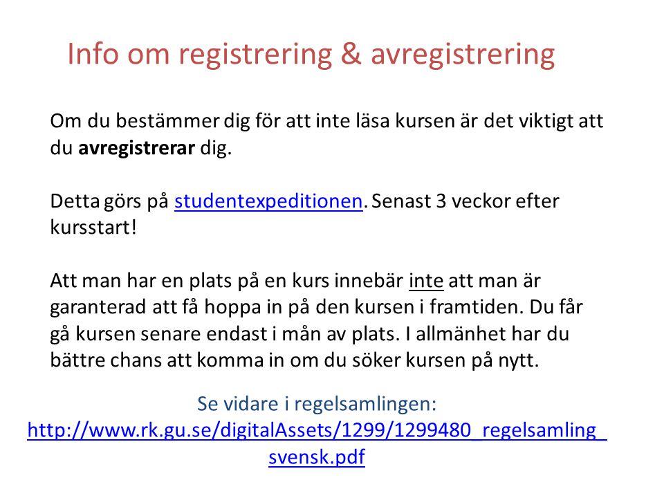 Info om registrering & avregistrering