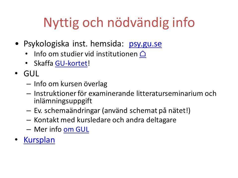 Nyttig och nödvändig info