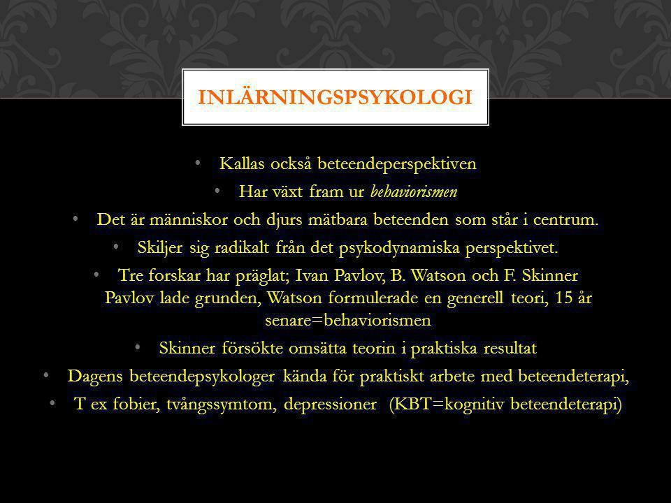 INLÄRNINGSPSYKOLOGI Kallas också beteendeperspektiven