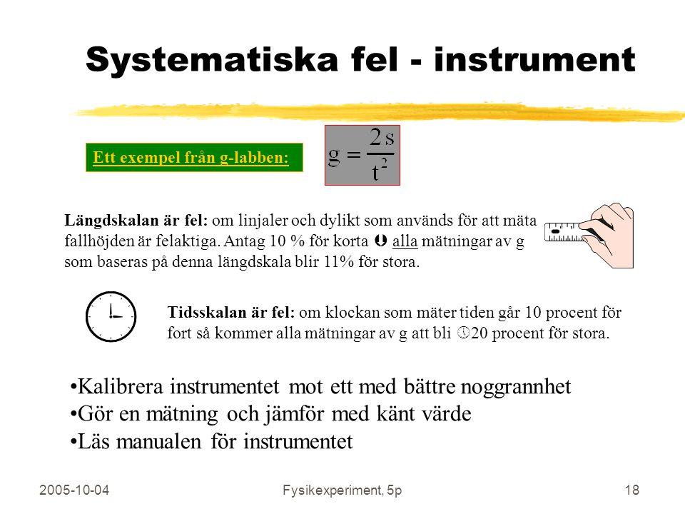 Systematiska fel - instrument
