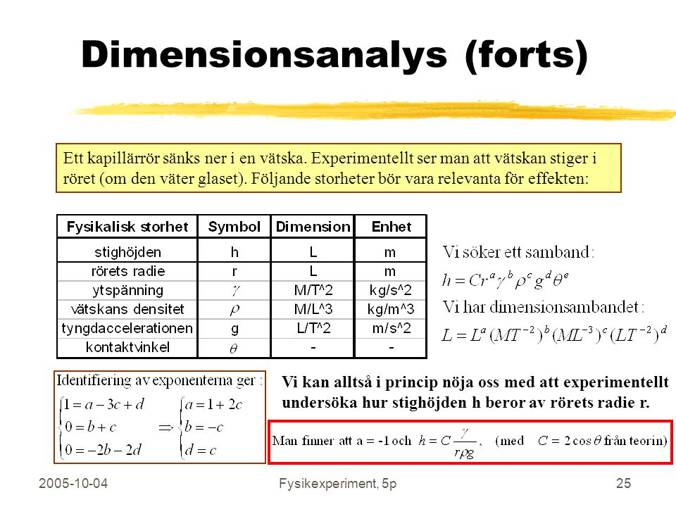 Dimensionsanalys (forts)