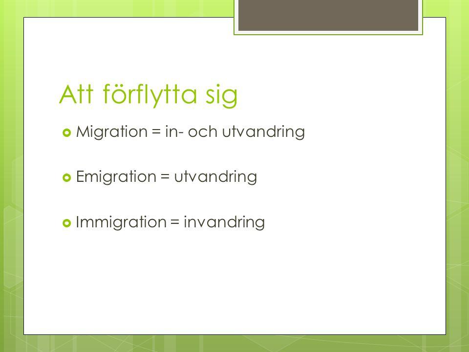 Att förflytta sig Migration = in- och utvandring