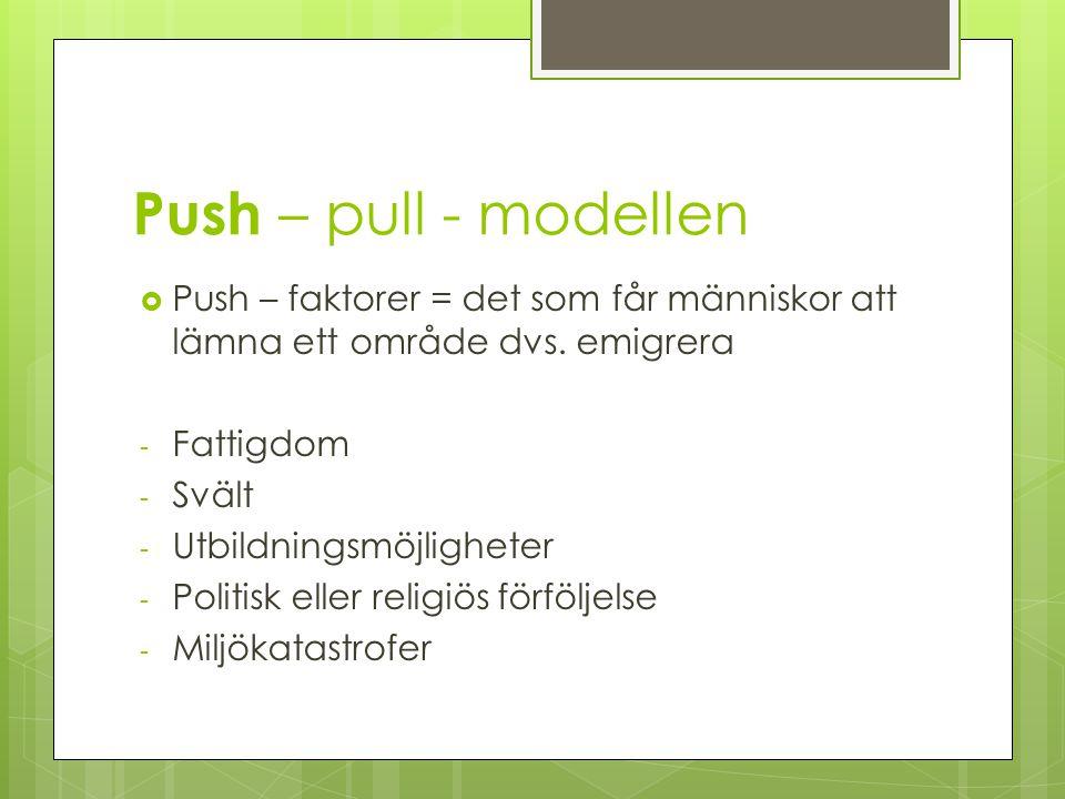 Push – pull - modellen Push – faktorer = det som får människor att lämna ett område dvs. emigrera. Fattigdom.