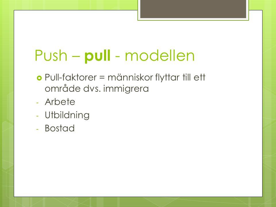 Push – pull - modellen Pull-faktorer = människor flyttar till ett område dvs. immigrera. Arbete. Utbildning.
