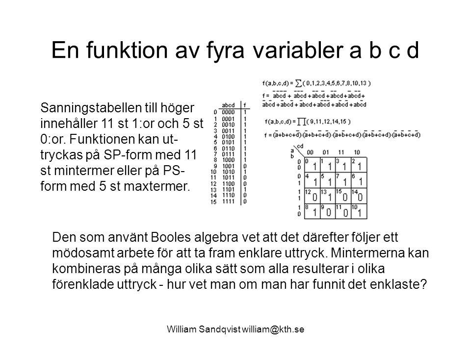 En funktion av fyra variabler a b c d